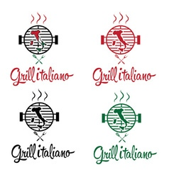 Italian grill set vector
