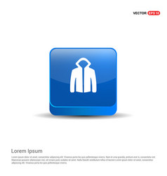 jacket with hood icon - 3d blue button vector image