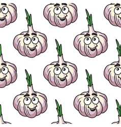Joyful cartoon garlic head infinite background vector