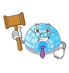 Judge cartoon ice house igloo on snowing day vector