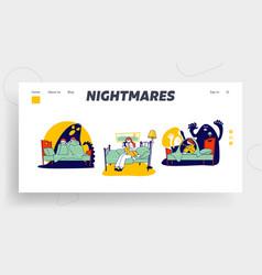 Kids nightmares website landing page scared vector