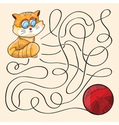 Kitten And Wool Ball vector image