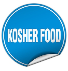 Kosher food round blue sticker isolated on white vector