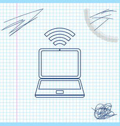 laptop and free wi-fi wireless connection line vector image
