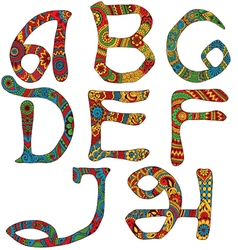 Latin letters decorated vector