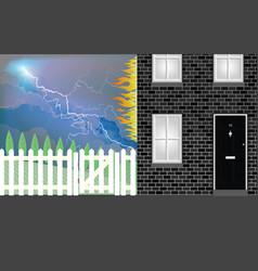 lightning strike on house vector image