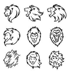 lion logo set premium design collection vector image