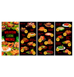 Malaysian cuisine menu meals asian food vector