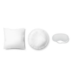 Mockup with two white pillows and blindfold vector