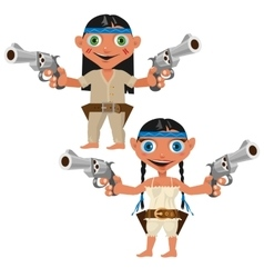Modern Indians with guns man and woman vector image