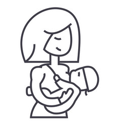 mother breastfeeding baby line icon sign vector image