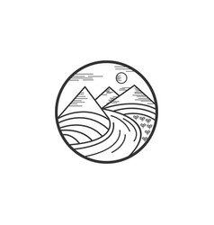 mountain and river logo designs vector image