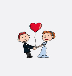 Newlyweds are holding hands whit a heart balloon vector