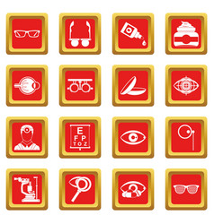 Ophthalmologist tools icons set red vector
