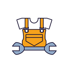 Overall uniform construction with wrench vector