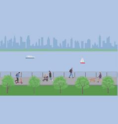 people walk in city embankment park vector image