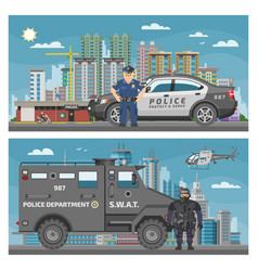 Police car policeman character and policy vector