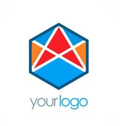 Polygon arrow color logo vector