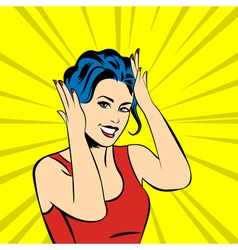 Pop art surprised woman face with smile vector