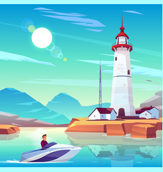 powerboat with man pass harbor with lighthouse vector image