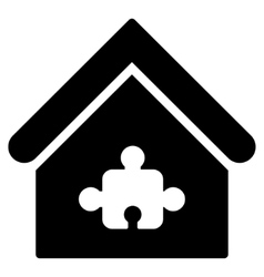 Puzzle building flat icon vector