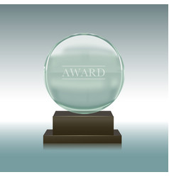 realistic glass or crystal prize plate vector image