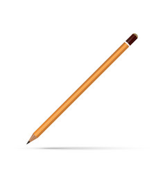 realistic yellow wooden pencil on white background vector image