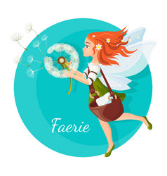 Redhead faerie with transparent wings holds vector