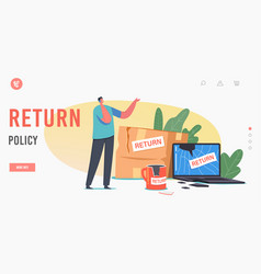 Return policy landing page template dissatisfied vector