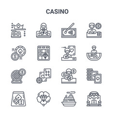 Set 16 casino concept line icons 64x64 thin vector
