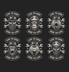 set biker emblems vector image