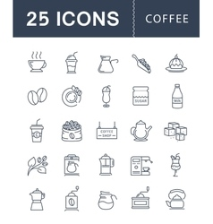 Set flat line icons coffee vector