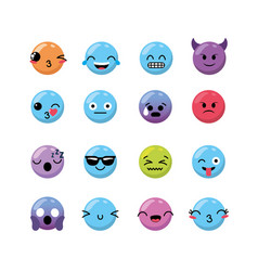 Set kawaii emoji emotion design icon vector
