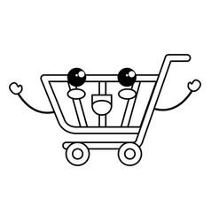 shopping cart kawaii character vector image
