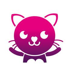 Silhouette smile cat adorable feline animal vector