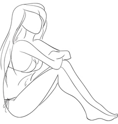 sitting girl vector image