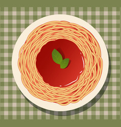 Spaghetti with tomato sauce and basil leaves vector