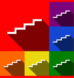 stair up sign set of icons with flat vector image