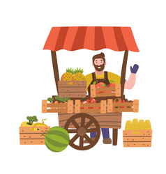 street seller with stall with fruits and vector image