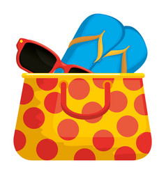 Summer vacations bag with sandals and sunglasses vector