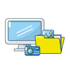 technology digital folders documents vector image