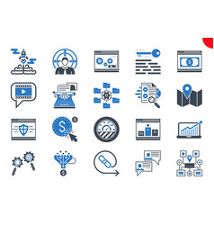 thin glyph icons set search engine optimization vector image