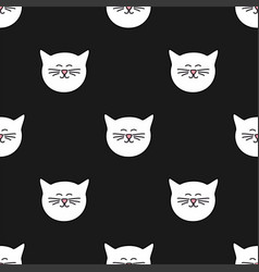 tile pattern with cats on black background vector image