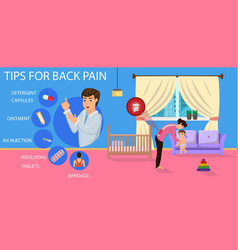 tips for back pain for mom vector image