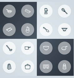 utensil icons line style set with bowl baking vector image