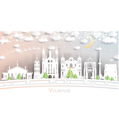 vilnius lithuania city skyline in paper cut style vector image