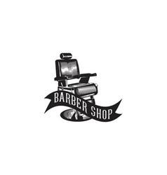vintage hand drawn chair barber shop logo designs vector image