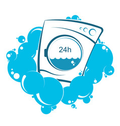 Washing machine and water bubbles vector
