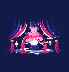 Woman fortune teller with magical crystal ball vector