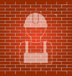Worker sign whitish icon on brick wall as vector